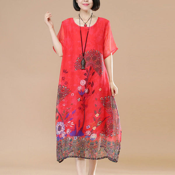 Chiffon Women Loose Casual Summer Printing Floral Red Dress