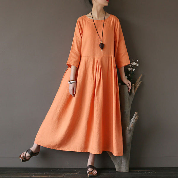 Summer Linen High Waist Pleated Orange Dress