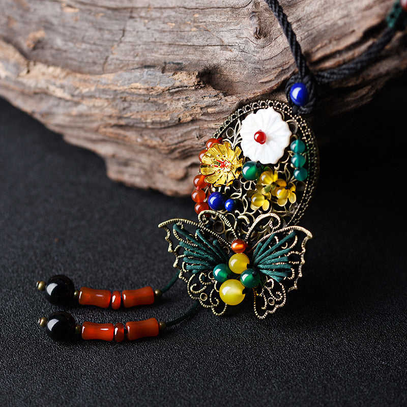 Alloy Hollow Out Butterfly Love Flower Long Necklace