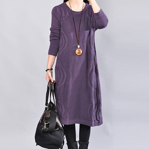 Chic Jacquard Round Neck Long Sleeves Women Purple Sweater Dress - Buykud