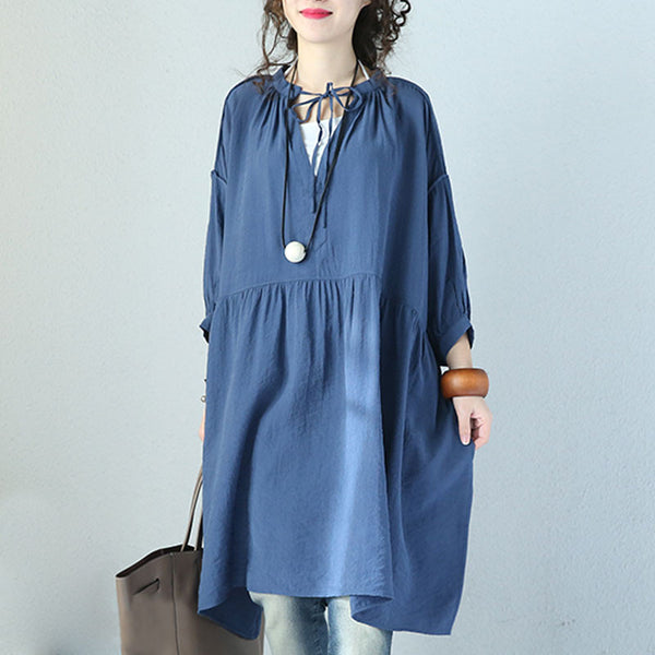 V Neck Laced Lantern Sleeve Blue Dress