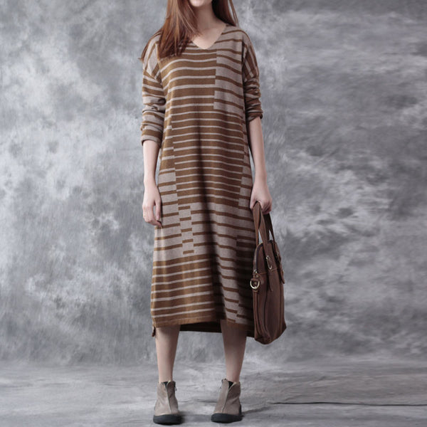 Brown Stripes Loose Sweater
