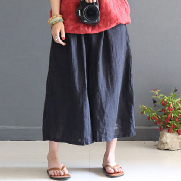 Summer Loose Casual  Linen Women Black Wide Leg Pants