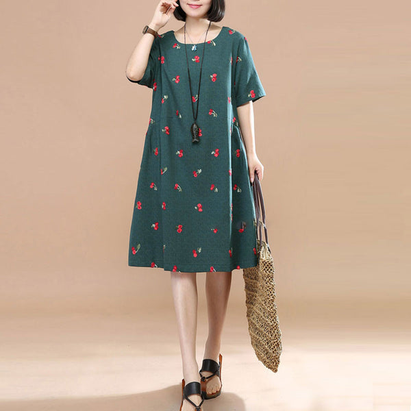 Sweet Cherry Image Round Neck Short sleeve Pleated Women Green Dress - Buykud
