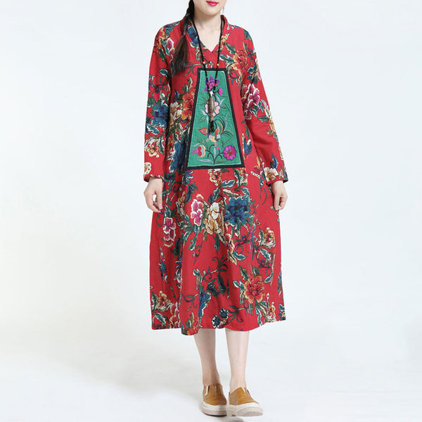 Retro Cotton Linen Embroidery Loose Long Sleeve Red Dress