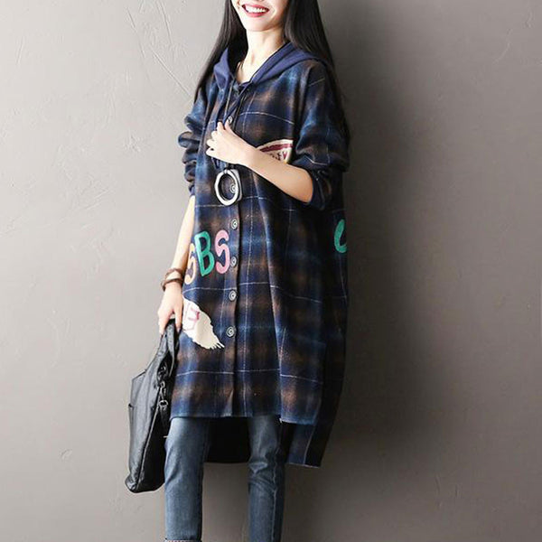 Plaid Blue Hooded Woolen Jacket Coat - Buykud