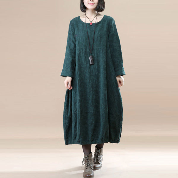 Elegant Women Linen Cotton Jacquard Pleated Round Neck Green Dress - Buykud