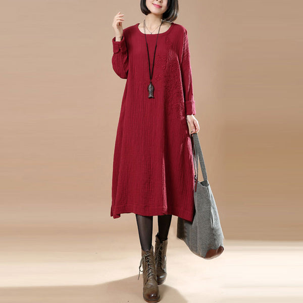 Round Neck Embroidered Linen Red Spring Dress - Buykud