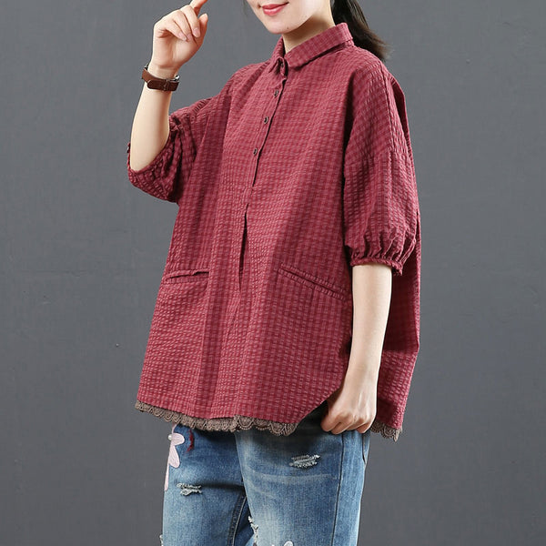 Women Polo Collar Plaid Patchwork Red Tops