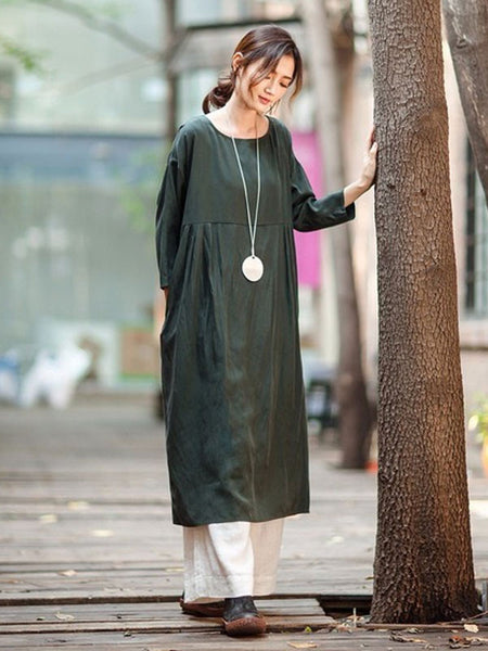 Green Casual Loose Dress