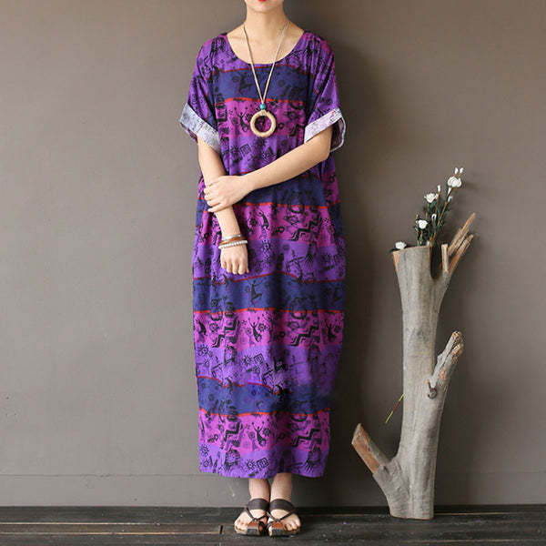 Ethnic Loose Printing Elbow Sleeves Women Purple Dress - Buykud