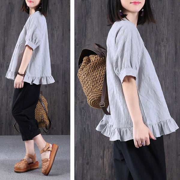 Women Summer Splicing Folded Cotton Linen Gray Shirt