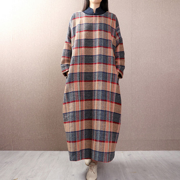 Women Stand Collar Lattice Pullover Pockets Dress - Buykud