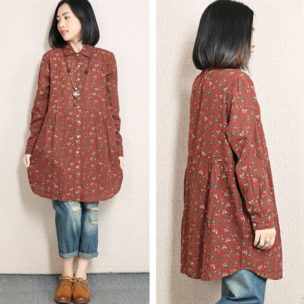 Spring Floral Linen Printing Red Shirt