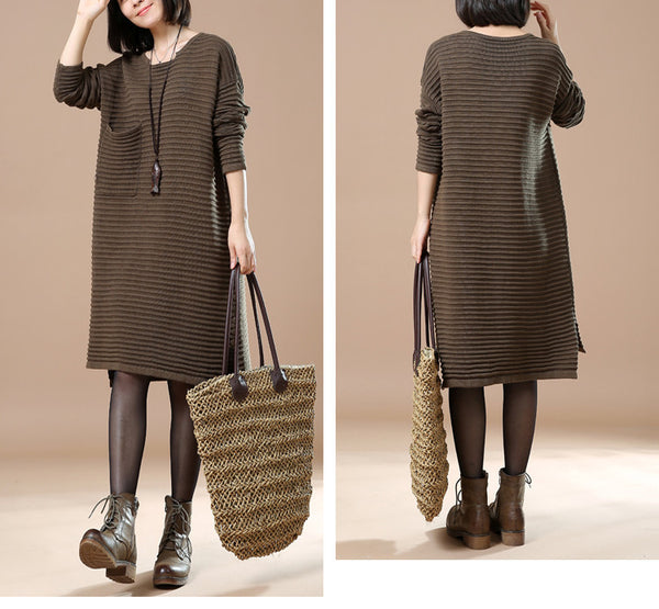 Dark Green Round Neck Long Sleeve Knitted Sweater
