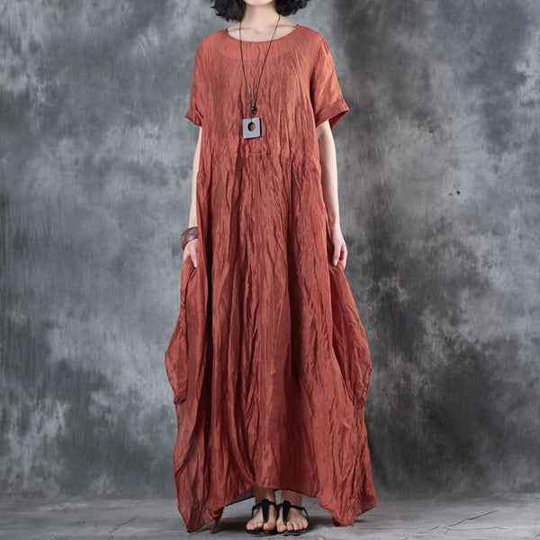 Summer Round Neck Short Sleeve Red Lacing Dress - Buykud