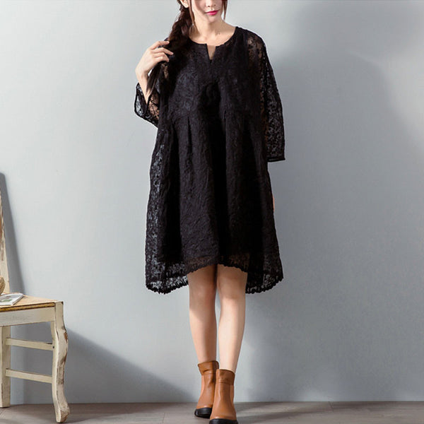 Graceful Lace Hollow Three Quarter Sleeves Black Dress - Buykud