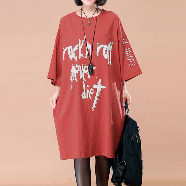 Loose Round Neck Printing Women Casual Red Shirt - Buykud
