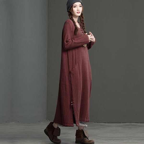 Retro Double Pocket Brown Loose Dress - Buykud