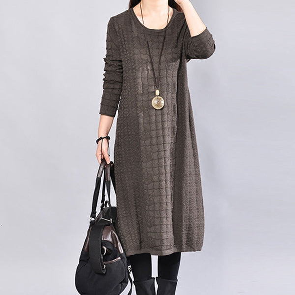 Round Neck Winter Jacquard Long Sleeves Women Coffee Dress