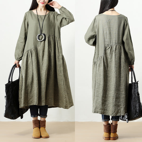 Women Retro Printing Long Sleeve Pockets Linen Cotton Dress - Buykud