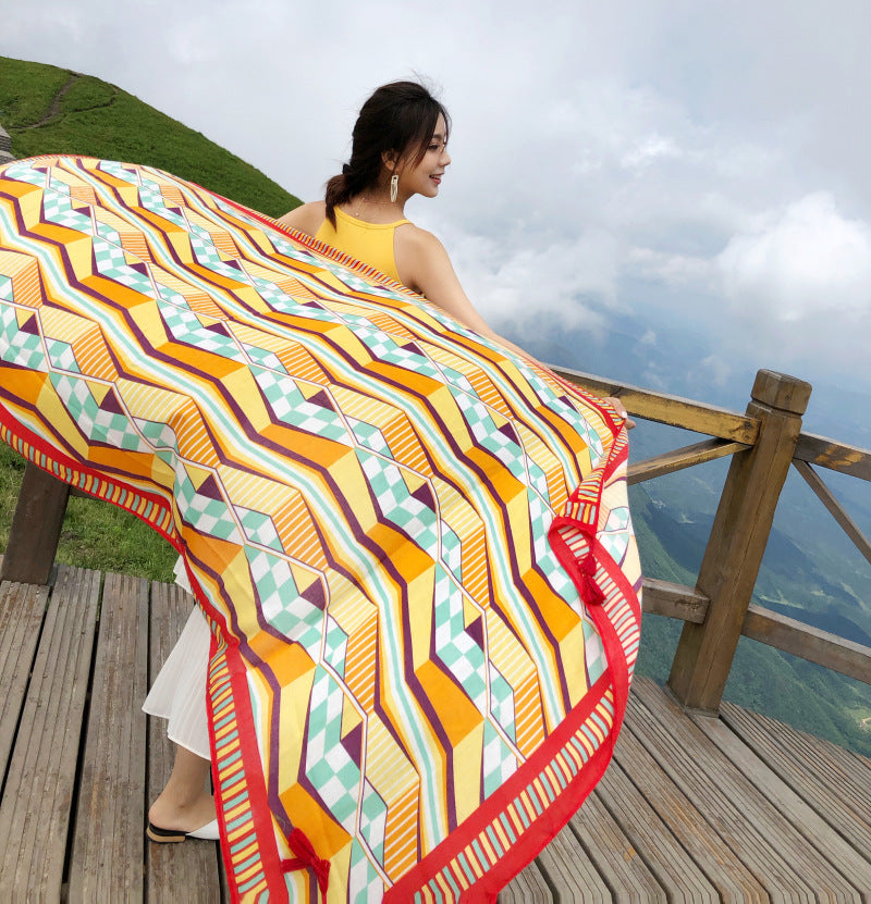 Women Sun Protection Printed Beach Summer Shawl Scarf