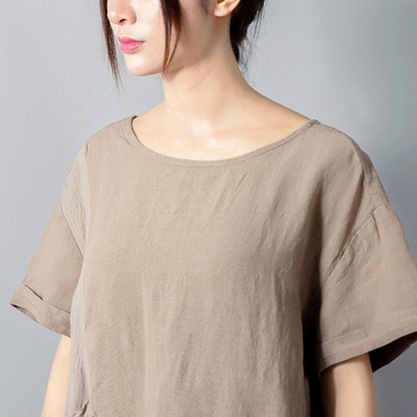 Splicing Women Loose Folded Cotton Linen Short Sleeves Beige Dress