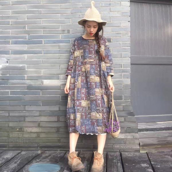 Printing Round Neck Loose Casual Dress