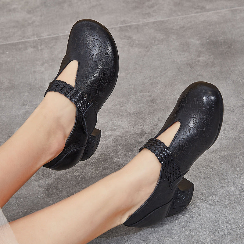 Casual Embossing Leather Pumps