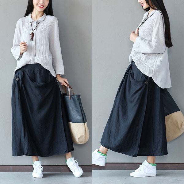 Linen Women Irregular Loose Black Skirt