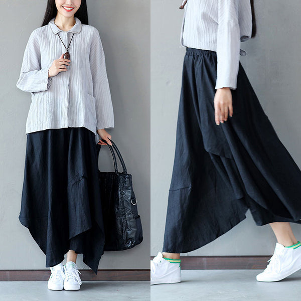 Irregular Loose Hemp Long Black Skirt