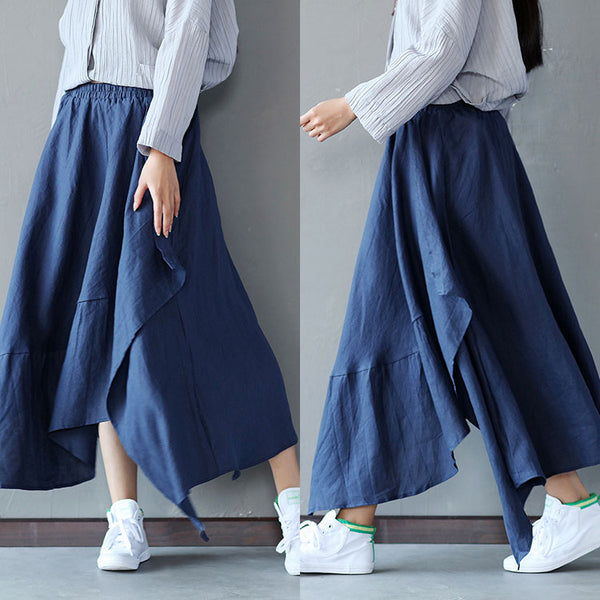 Irregular Loose Hemp Long Blue Skirt