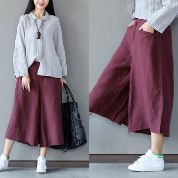 Loose Casual Women Wine Red Wide Leg Pants - Buykud