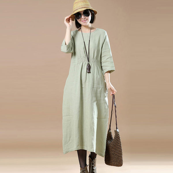 Loose Casual  Linen Plain Women Light Green  Dress - Buykud