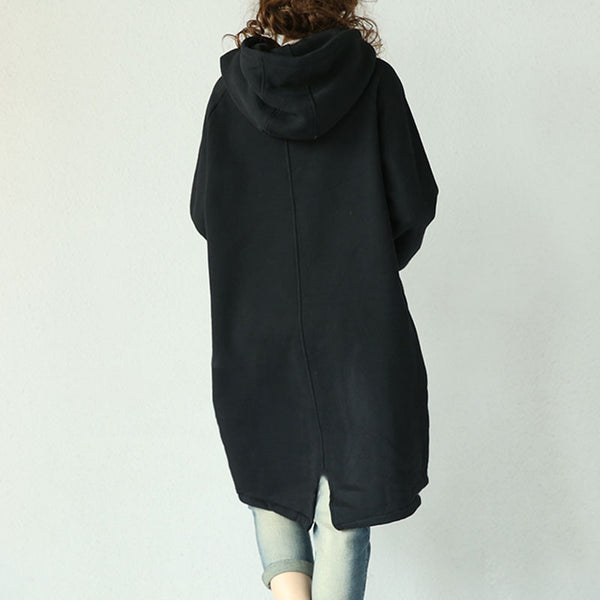Black Hooded Cotton Jacket