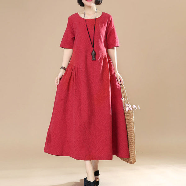 Women Casual Loose Cotton Linen Red Dress