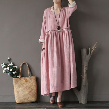 Pink Retro Irregular Loose Dress - Buykud