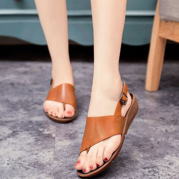 Women Casual Summer Sandals Brown Soft-soled Shoes