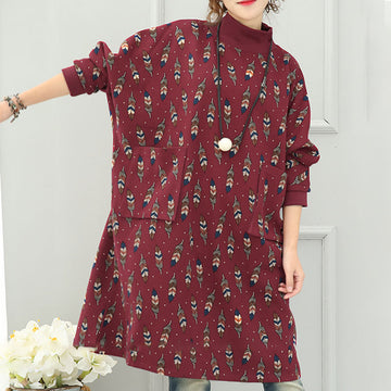 Literature Turtle Leaf Printing Neck Long Sleeves Big Pockets Red Women Dress - Buykud