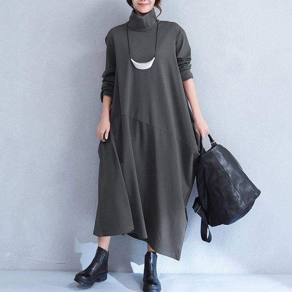 Irregular Turtleneck Deep Gray Loose Dress