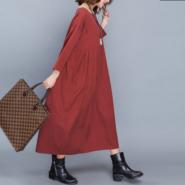 Dark Red Silk Loose Splicing Dress