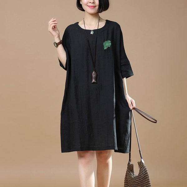 Spring Retro Embroidered Women Round Neck Black Dress - Buykud