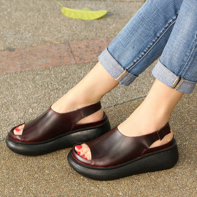 Summer Casual Cow Leather Shoes Coffee Wedge Heel Sandals