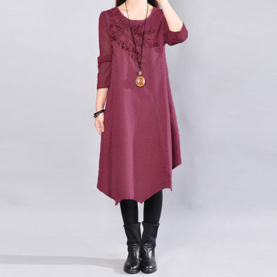 Women Wine Red Retro Three Quarter Sleeve Patchwork Embroidery Dress - Buykud