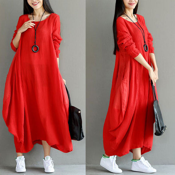 Loose Women Casual Folded Linen Irregular Red Dress