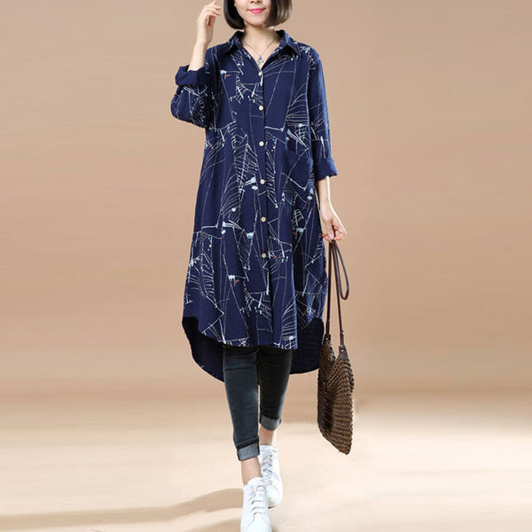 Loose Casual Long Sleeves Blue Long Shirt