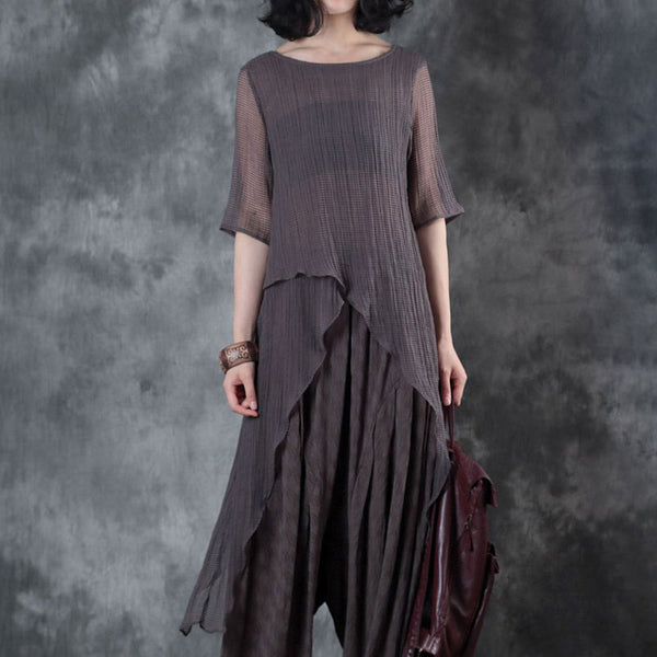 Women Pleated Irregular Flax Pullover Tops