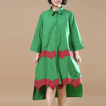 Women Vintage Casual Splicing Summer Irregular Green Shirt Dress - Buykud