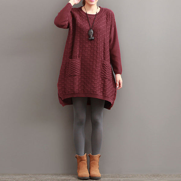 Hedging Casual Loose Split Knit Red Sweater