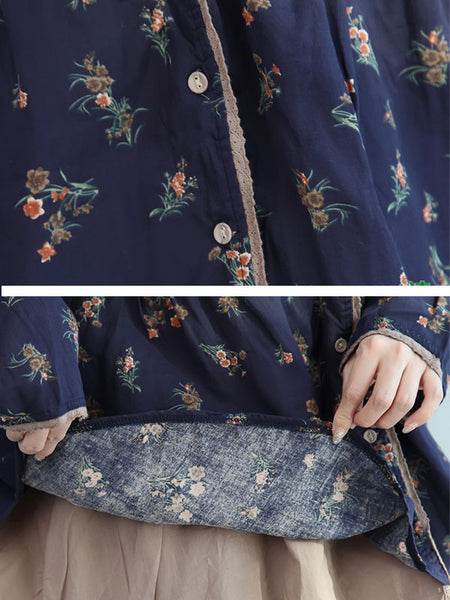 Floral Retro Women Casual Cotton Blue Shirt - Buykud
